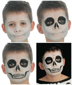 Are you looking for ideas for your Halloween make-up? Browse around this site for cute Halloween makeup looks. Halloween Makeup For Kids, Scary Halloween, Halloween Costumes, Halloween Stuff, Skeleton Face Paint, Halloween Infantil, Makeup Humor, Skull Makeup, Costume Makeup