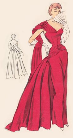 Vintage Sewing Pattern 1950's Ball Gown in Any Size by Mrsdepew
