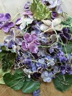 vintage millnery flowers in the form of  velvet violets