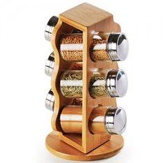 Conjunto Porta Condimentos Vidro/Bambu 7 Peças Welf MOD-873 - Casa do Marceneiro