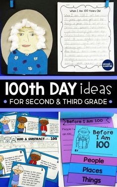 These day activities for kids will give second and third grade teachers ideas for math, ELA, and writing on the day of school. Perfect for and graders, the writing and self-portraits make a great January or February bulletin board. 100 Day Of School Project, 100 Days Of School, School Holidays, Middle School, High School, School Stuff, 3rd Grade Writing, 2nd Grade Math, Second Grade