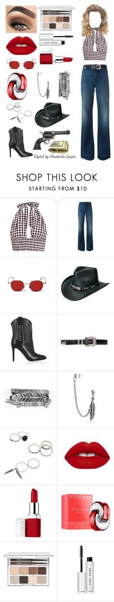"""COWGIRL."" by alankrita-gupta on Polyvore featuring Helmut Lang, Yves Saint Laurent, Boohoo, Bling Jewelry, Lime Crime, Clinique, Bulgari, Bobbi Brown Cosmetics and Revolver"