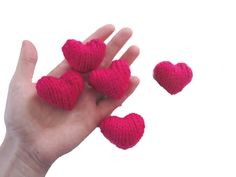 Sweet Hearts, Handful of Hearts, Knit, Set of 5, Plushie by Girlpower on Etsy https://www.etsy.com/listing/177532720/sweet-hearts-handful-of-hearts-knit-set