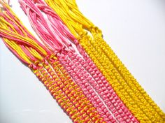 15 Pink and Yellow Friendship Bracelets - Double Chain Knot
