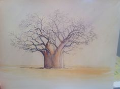 Baobab, class project, watercolour Class Projects, Watercolours, Trees, Ink, Studio, Painting, Study, Painting Art, Paintings