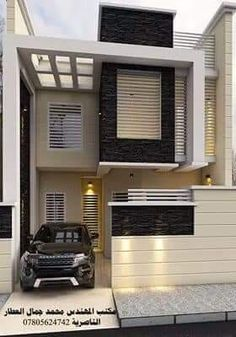 Building Elevation, House Elevation, Front Elevation, Facade Design, Exterior Design, Little Houses, Small Houses, House Front Design, Duplex House