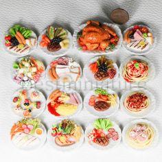 16 Steak Chicken Breakfast Salad Dollhouse Miniature Food on Plate Barbie 1 6 C | eBay