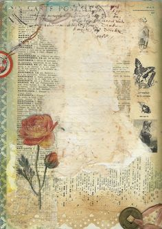 ink, tissues, paint, vintage French dictionary page lovely work