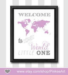 baby girl nursery wall art travel themed nursery decor welcome to the world girl decor new baby gift baby shower gift kids playroom decor by PinkeeArt, $11.00