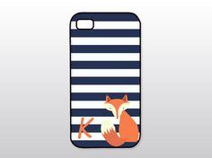 Fox iPhone Case - Navy Stripes w/ Fox - Monogrammed iPhone Case on Etsy, $18.00