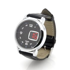 Checkers - LED Touch Watch with Leather Strap - Black