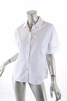 JIL SANDER White Short Sleeve Fabulously Designed Blouse NWT $480 40/US4/SM #JilSander #ButtonDownShirt #Casual