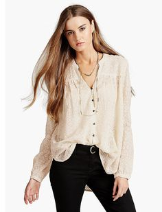 Lucky Brand Embroidered Peasant Top Womens - Nigori (S)