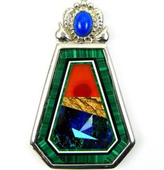 A Seascape in Malachite and Opal with Lapis Intarsia Sterling Silver Pendant 925 - Offered by #taylorsdreams on Bonanza