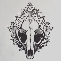 New drawing- rabbit skull mandala decor with leaves and little wild berries your pre bra allays tell you not to eat when your playing in the woods. #linedrawing #skulltattoo #rabbitskull #berries #botanicalillustration #tattoo #blackwork by christielconstantine