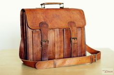 "Leather Briefcase 14"" / Leather Messenger Bag / Laptop Bag / Satchel / Hip Bag / Shoulder Bag / Handbag / Cabin Travel Bag by EpicLinen"