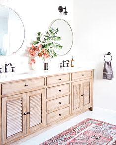Beautiful wood shuttered door double bathroom vanity.