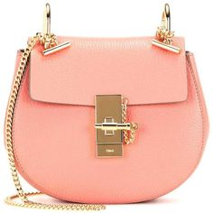 Chloé Drew Mini Leather Shoulder Bag (21.669.525 IDR) ❤ liked on Polyvore featuring bags, handbags, shoulder bags, sac, pink, pink handbags, leather handbags, mini purse, red purse and leather purse