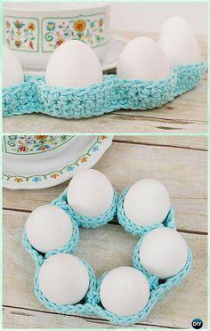 Crochet Easter Egg Tray Table Decor Free Pattern - Crochet Easter Egg Ideas [Free Patterns]
