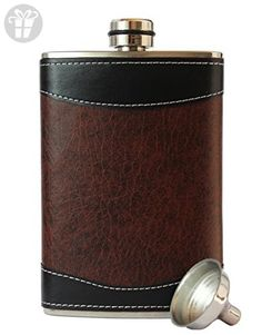 8oz Stainless Steel Primo 18/8 #304 Brown/Black PU Leather Premium/Heavy Duty Hip Flask Gift Set - Includes Funnel and Gift Box (*Amazon Partner-Link)