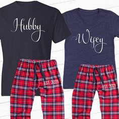 Wifey and Hubby Personalized Couple's Pajama Set by BeforeTheIDos (How To Get Him To Propose Boyfriends) Christmas Couple, Christmas Pajamas, Christmas Shirts, Matching Couples, Cute Couples, Suprise Wedding, Couple Pajamas, Mrs Shirt, Couple Outfits