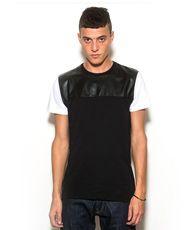 CRIMINAL DAMAGE Marlon Pu Shoulder Panel Zip T-Shirt