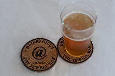 Custom Cork Coaster Set - Personalized Engraved Cork Coasters - Set of 5 | Drinks on us | SM Design