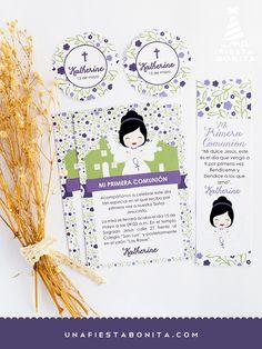 INVITACIÓN - PRIMERA COMUNIÓN - MORADO - imprimible