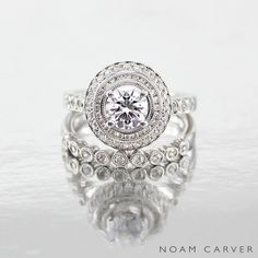 It always takes two. Mesmerizing bridal set by Noam Carver. See more here: http://noamcarver.com/details.asp?SKU=B069-01WM-100A