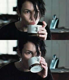 Molly Millions drinking a cup of joe. #neuromancer
