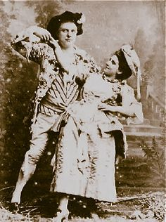 "Elliot and Fry cabinet card photo of Richard Temple as Strephon and Leonora Braham as Phyllis, 1882 original DOC production of ""Iolanthe"" at the Savoy Theatre"