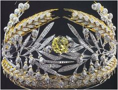 Royalty & their Jewelry - Russian Field tiara which is made of sheaths of wheat made out of gold and diamonds This tiara has a 35 carat yellow diamond in the center