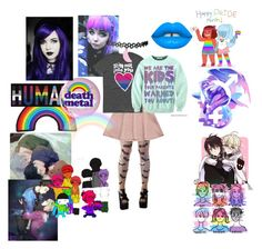 """""""Pastel Goth and Bi"""" by sakura-chan-cxcvi ❤ liked on Polyvore featuring Lime Crime and Hot Topic"""