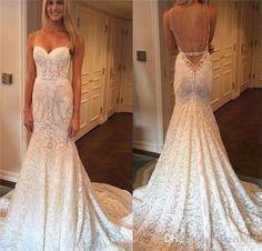 Gorgeous Full Lace Mermaid Wedding Dress Backless Spagehettis Beach Bridal Gowns