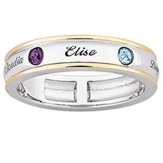 Mother's Birthstone Band in Sterling Silver and 18K Gold Plate (2-7 Names and Stones) - View All Personalized Jewelry - Zales