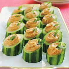 Hummus stuffed cucumber slices
