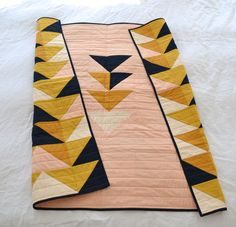 modern quilt / quilt back / half square triangle / HST / flying geese / kona solids / mustard pink dark navy blue / by Kat Webster