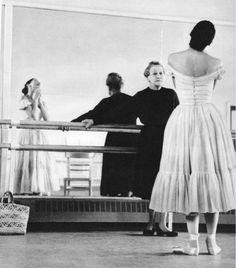 "Margot Fonteyn (1919-1991), in rehearsal with Tamara Karsavina (1885-1978), for Michel Fokine's ballet, ""Le Spectre de la Rose,"""