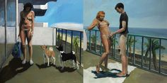 Eric Fischl - Dog Days (diptych) 1983 oil on canvas Northern Girls, Adult Games, North Africa, Dog Days, Art History, Oil On Canvas, Old Things, Drawing, Dogs