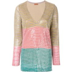 Missoni sequined striped blouse ($1,770) ❤ liked on Polyvore featuring tops, blouses, multi color blouse, missoni blouse, sequined top, striped blouse and multi color tops