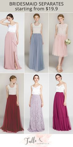 Mix and match trendy, affordable bridesmaid skirts and tops. Find the best selection of designer quality bridesmaid separates from Tulle & Chantilly . Wedding Seperates, Bridesmaid Skirt And Top, Two Piece Bridesmaid Dresses, Bridesmaid Skirts, Brides And Bridesmaids, Wedding Skirt, Wedding Dresses, Bridal Tops, Vestidos