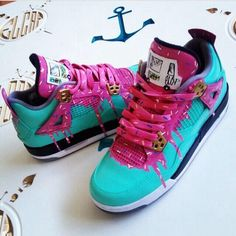 There are 36 tips to buy shoes, jordans, black white and purple. Custom Jordans, Custom Sneakers, Custom Shoes, Shoes Sneakers, Pink Shoes, Buy Shoes, Me Too Shoes, Baskets, Air Force Shoes
