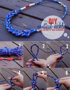 Ideia para você fazer um colar Náutico para usar na praia e também na cidade...      Faça Um colar Náutico   É só seguir a explicação da f... Boho Chic, Jewels, Hair Styles, Navy, Nautical Necklace, Handmade Necklaces, Knives, Ideas, The Beach
