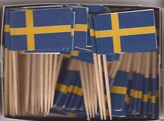 Sweden Toothpick Flags. 100 pack for $3.75 or 6 100 packs for $18. http://www.miniatureflagshop.com/sweden1.html