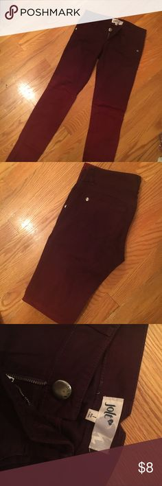 Ombré skinny jeans ****sale right now anything $10 & under BOGO 1/2 off* Cute maroon ombré skinny jeans! Worn only once when I was a size 1 for about a day haha no longer fit or I wouldn't be selling! Super cute & stylish! Probably fit someone whose a size 0-2, says size 1. Like new! Jolt Jeans
