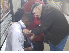 ATLANTA, Ga. -- An Atlanta man caught a heartwarming moment at a train station, and the photo is going viral. Facebook user Redd Desmond Thomas posted the photo Nov. 14. The photo shows a young man...