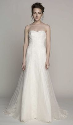 Sweet heart neckline Nell wedding gown with a soft tulle touch from the Spring 2014 collection by @Kelly Faetanini.