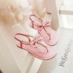 Summer Women Shoes Women's Sandals Ankle-Wrap Elastic Band Butterfly-knot Pearl String Bead Flat Heel Solid Sweet Casual