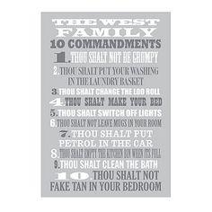 Personalized Family Ten Commandments