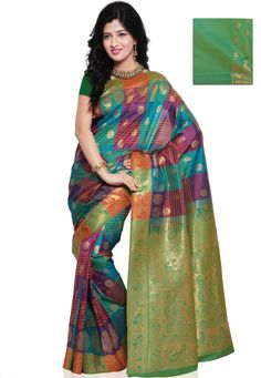 Onion #Pink and Turquoise #Green Shot Tone Art #Silk #Saree with Blouse @ $85.23